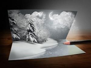 Идеи новогодних открыток можно подчерпнуть из книг, на улице или в интернете