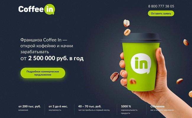 Франшиза кофе-бара Coffee In: стоимость, условия, доходность