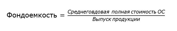 Формула фондоемкости